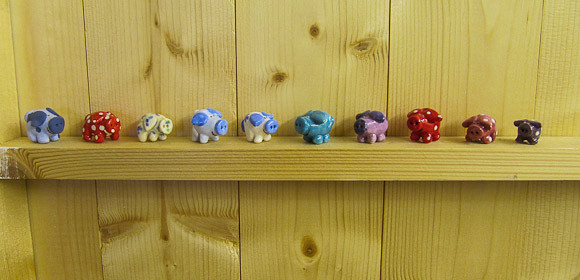 Lucky pigs at Helen's shed